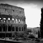 Colosseum in Rome with the Arch of Constantine