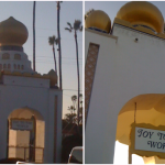 """Picture of the Encinitas Self Realization Domes and a sign reading """"Joy to the World."""""""