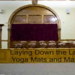"Jury box with title, ""Laying Down the Law on Yoga Mats and Marriage"""